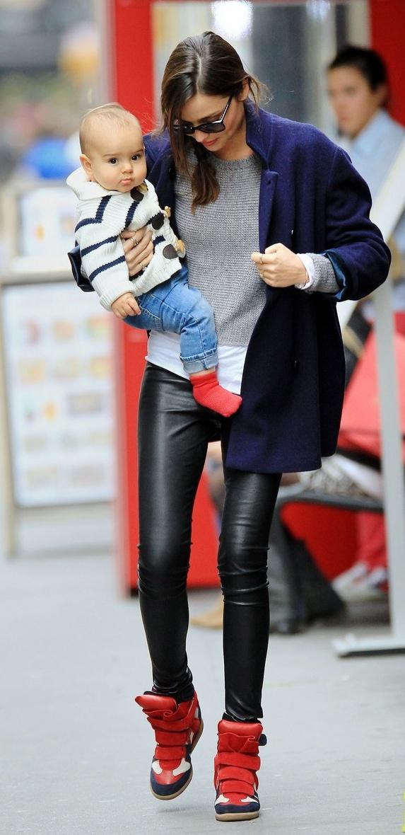 Miranda Kerr Street Style -  Leather & Red Sneakers