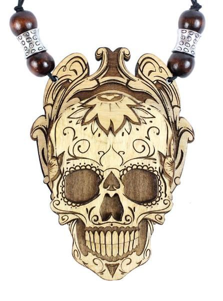 """Sugar Skull"" Stash Pendant Necklace by Treasure Tribe Art (Maple)"