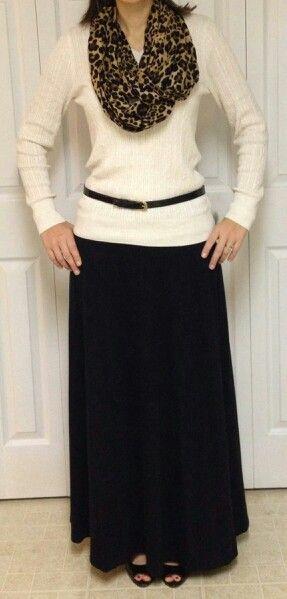 Cream jumper, black maxi skirt, leopard scarf, black belt - a simple yet elegant outfit idea! Find similar at http://mandysheaven.co.uk/ - Womens Fashion Boutique UK