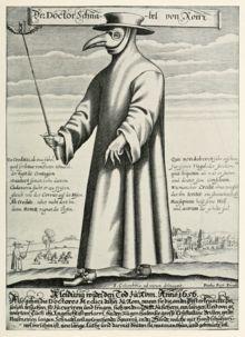 Docteur Schnabel de Rome, pendant la peste noire (gravure de Paul Fürst 1656): tunique recouvrant tout le corps, gants, bésicles de protection portées sur un masque en forme de bec, chapeau et baguette.