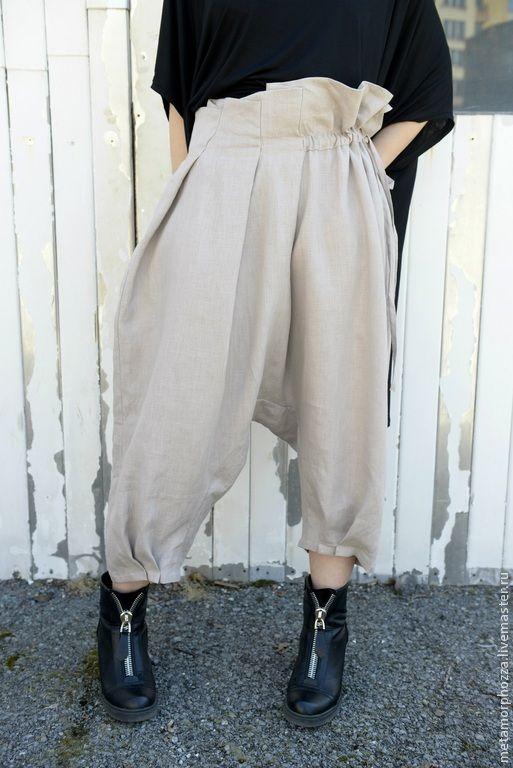 Купить Льняные бриджи - бежевый, брюки, брюки женские, брюки льняные, брюки широкие