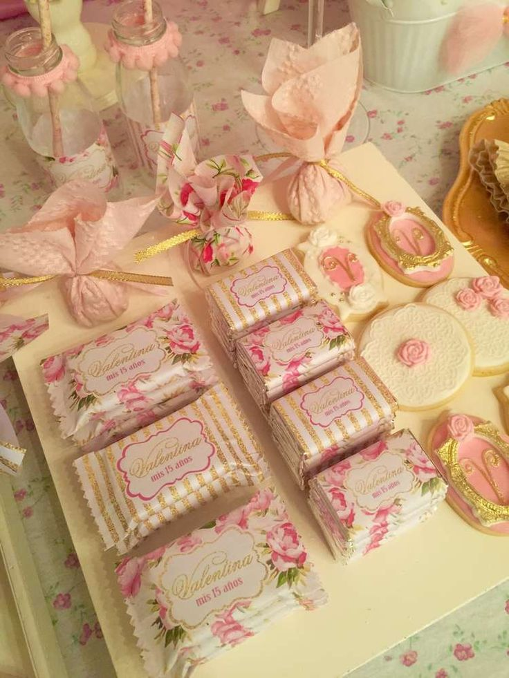 Pretty favors at a shabby chic vintage birthday party! See more party ideas at CatchMyParty.com!