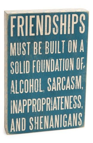 Friendships must be built on a solid foundation of Alcohol, Sarcasm, Inappropriateness, and Shenanigans. But for real.