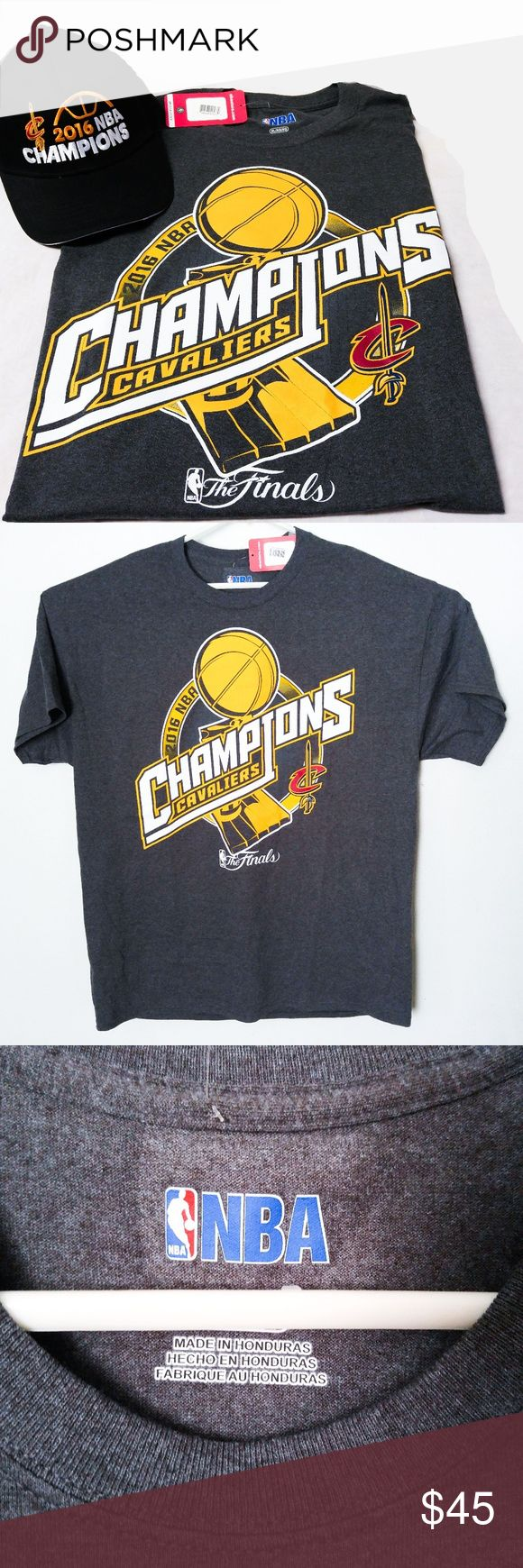 NWT XL NBA Cleveland Cavaliers T-Shirt Hat Adidas NWT NBA Cleveland Cavaliers T-Shirt & Hat Adidas 2016 Champions Finals Sz XL The t-shirt is a heather grey in a size XL.   The hat is black with an adjustable back.   Both are New with Tags. adidas Shirts Tees - Short Sleeve