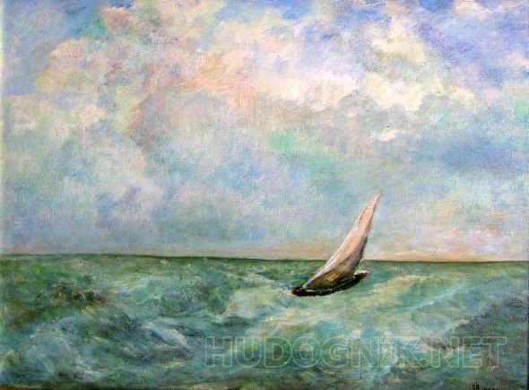 Отважный. Впереди земля. Волнение на море. Парусник борется с ветром.