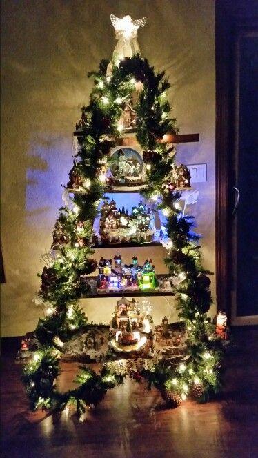 Snow village Christmas tree ladder