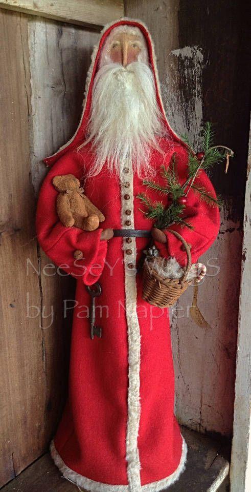 Old World Primitive Folkart Santa Father Christmas Primitive