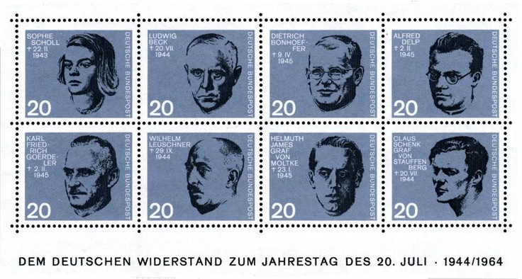 1964 West German stamps commemorating the leaders of the wartime resistance to the Nazi regime