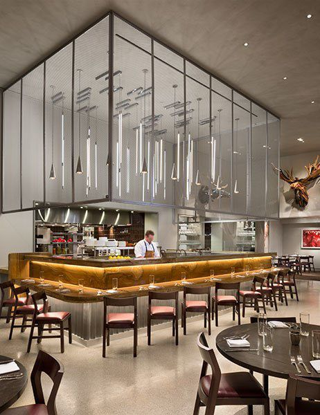 Art Deco hotel and gallery 21c Durham in North Carolina was modernized by architecture and interiors firm Deborah Berke Partners, and it includes the Counting House restaurant.