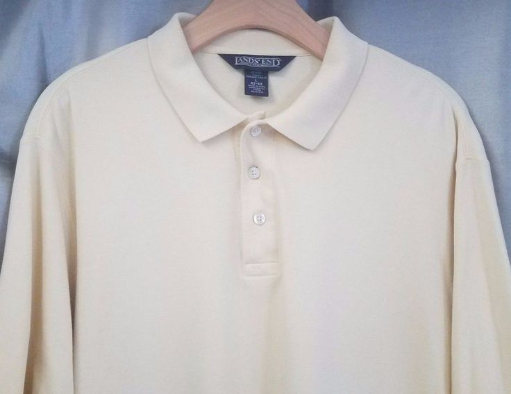Lands End Mens Large 42 44 Tall Yellow Polo Shirt #LandsEnd #PoloRugby