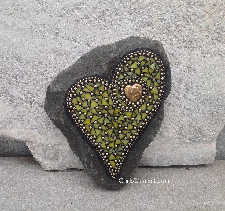 Yellow Hobnail Mosaic Heart/ Garden Stone