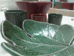 Foglia di fico - Cristallina verde su terraglia