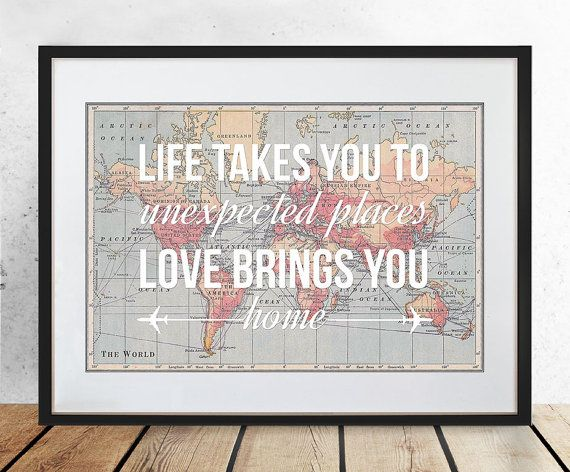 World Map Poster World Map Print Love Quote Map by oflifeandlemons, $23.12