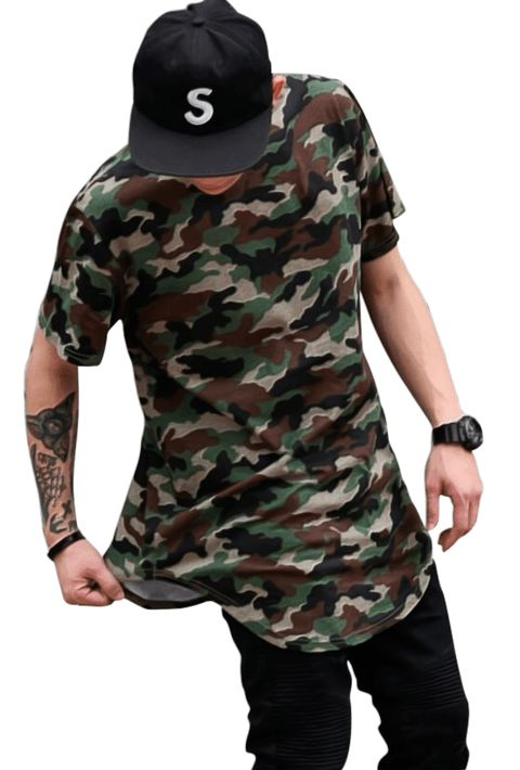 LOJA HDR https://www.lojahdr.com.br  Camiseta Camuflada Exército Masculina Longline Oversized Alongada - comprar online