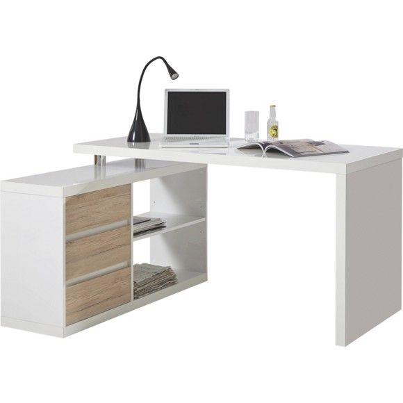 Dieser Schreibtisch ist als Arrangement für die Ecke optimal. Das Schenkelmaß von ca. 140 x 115 cm (B x T) garantiert, dass Sie alles perfekt mit der Hand erreichen: Tastatur und Maus, Drucker und Scanner, Unterlagen und Aktenordner. 2 offene Fächer, 3 Schubladen und eine großzügige Arbeitsplatte bieten eine ausgeprägte Flexibilität. Der Schreibtisch eignet sich auch ideal als Beimöbel für Wohnzimmer. So richten Sie Ihr Zuhause noch vielseitiger ein. Probieren Sie es aus!