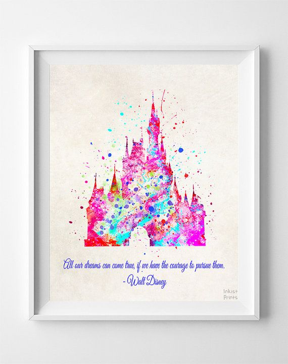 Cinderella's Castle Quote Print Disney Princess by InkistPrints
