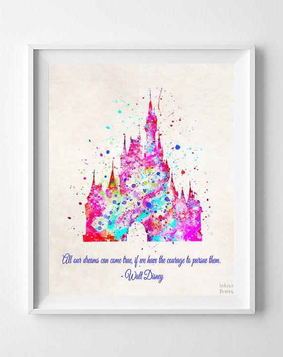 Impression de devis Château de Cendrillon, Disney Princesse, Château Disney Poster, Illustration, Déco maison, salle Art, Kid mur, cadeau de Saint Valentin