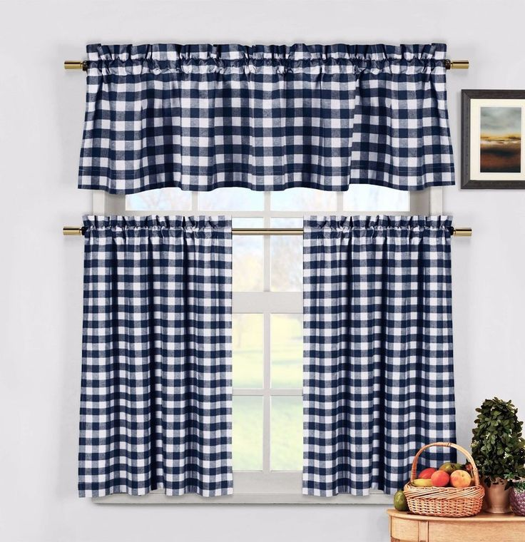 Navy Blue 3 Pc Kitchen Curtain Set: Plaid,Checkered,Gingham, 1 Valance, 2 Panels #DuckRiver #Country