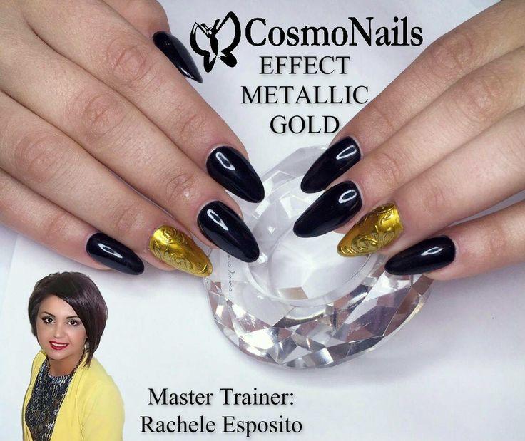 Cosmonails  Effect metallic gold  Cosmonails la differenza!!!!!!!!!!!!!!!! Master Trainer : Rachele Esposito #unghieebellezza #lovenails #lesnouvellesesthetiques