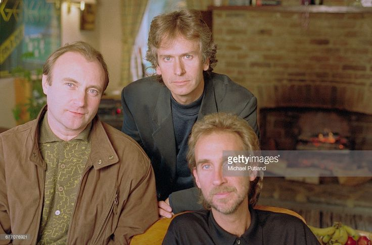 English rock group Genesis, UK, 1993. Left to right: singer and drummer Phil Collins, keyboard player Tony Banks and bassist Mike Rutherford.