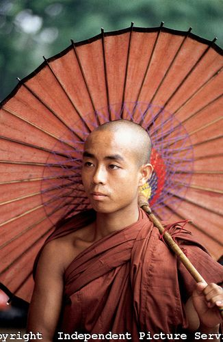 JK000199 - Buddhist monk with parasol, Myanmar | Flickr - Photo Sharing!