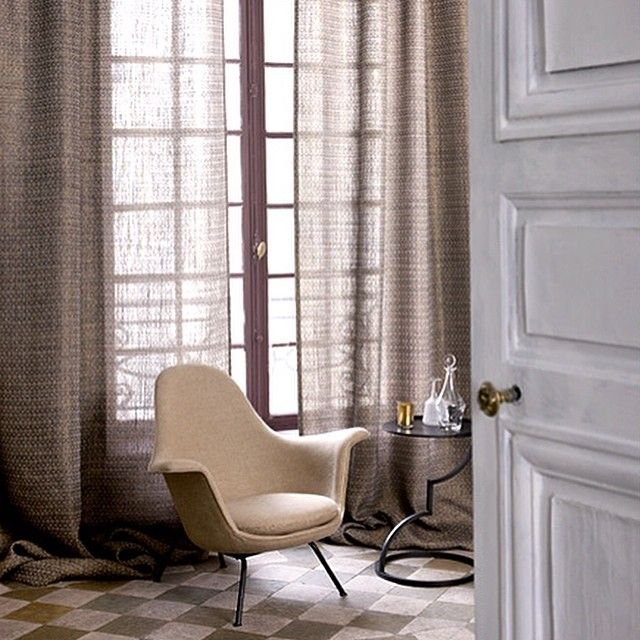 Curtains in Galop #lecrin #fabric  65% Linen 20% Horsehair 15% Polyester