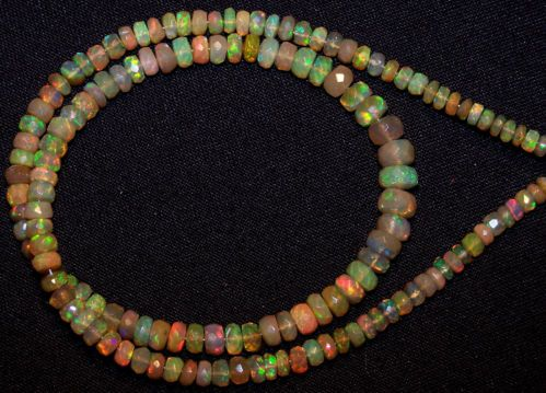 46 cts Super Metallic Fire Caramel Ethiopian Welo Opal Faceted beads 4-6 MM 16 ""