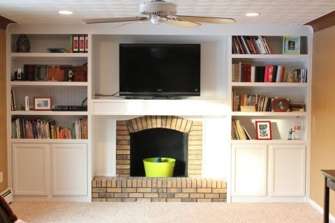 Fireplace Makeover with builtins made from stock cabinetry (1)