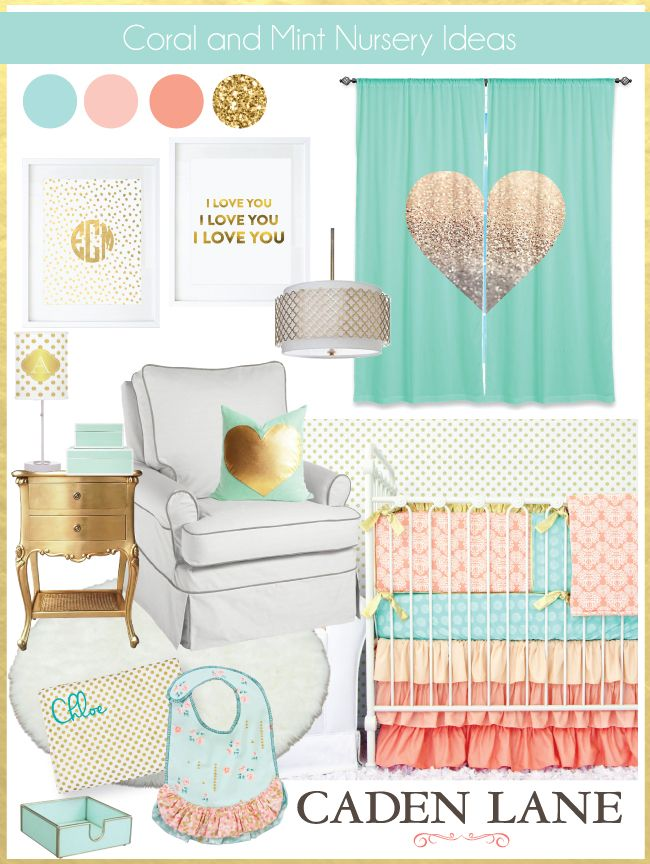 Coral & Mint pair together sooo well in the nursery! How cute is this with gold as an accent??