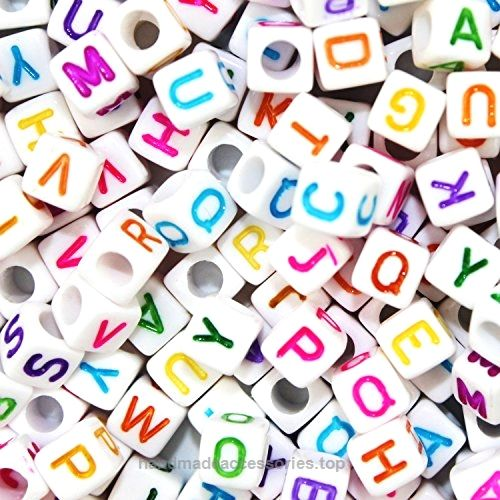 Goodlucky 800 Pcs Acrylic Letter Beads White Alphabet Beads with Colorful Letters for DIY Bracelets, Necklaces, Children's Educational Toys, Handmade Gift  Check It Out Now     $11.99    The print of our letter beads is very clear, not vague as other beads.  They are square cube beads with round edges.  ..  http://www.handmadeaccessories.top/2017/03/15/goodlucky-800-pcs-acrylic-letter-beads-white-alphabet-beads-with-colorful-letters-for-diy-bracelets-necklaces-childrens-educatio..