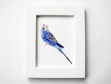 Blue+Budgie,+Geometric+bird+print,+Original+illustration+