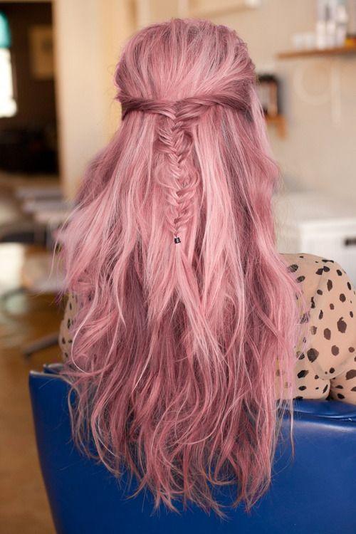 pink hair colorido cabelos tranças