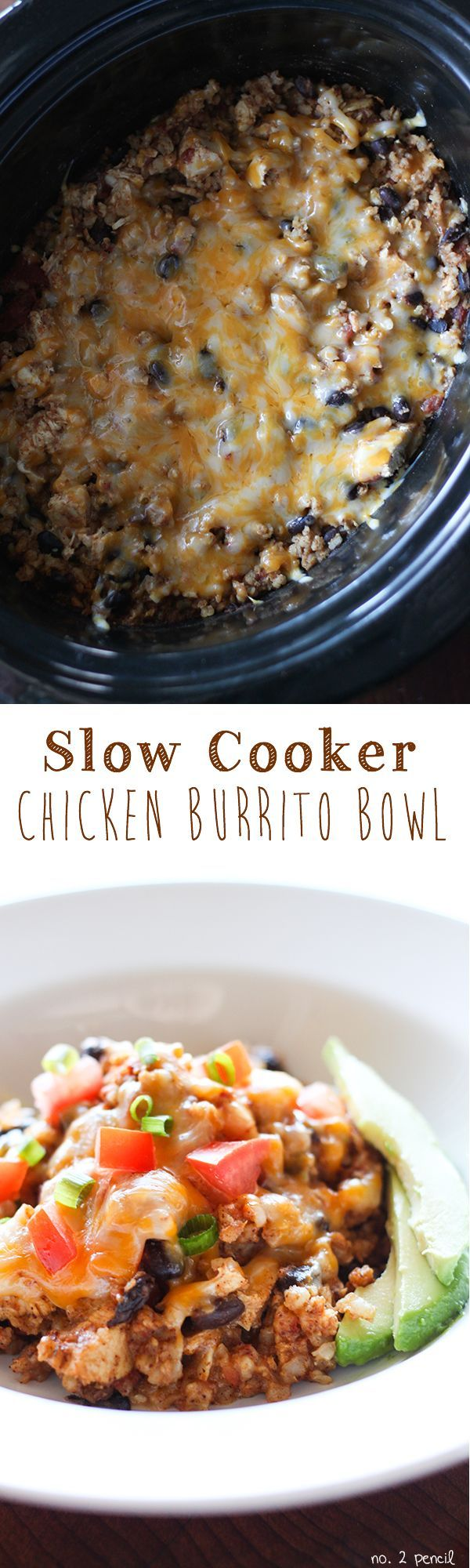 Slow Cooker Chicken Burrito Bowl - tender chicken, black beans and brown rice in an easy slow cooker recipe.