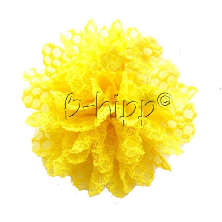 hippe bloemspeld Lace geel- 8 cm