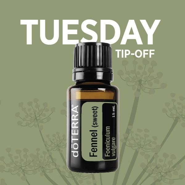 A little late but still great info. Tuesday Tip-off! Diffuse Fennel essential oil in your home or office to encourage a productive day. How do you use Fennel essential oil? ‪#‎fennelweek‬ https://www.mydoterra.com/susanreilly1