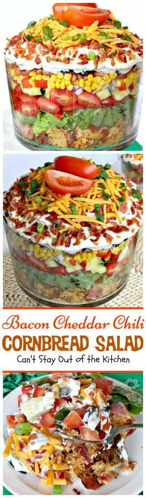 Bacon Cheddar Chili Cornbread Salad | Can't Stay Out Of The Kitchen | Bloglovin'