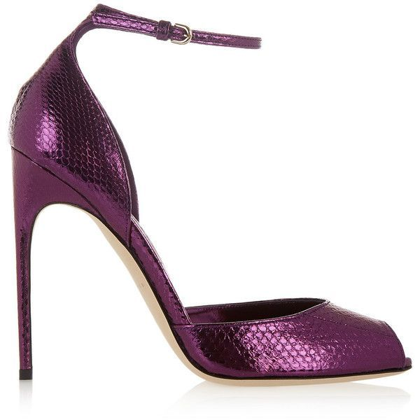 Brian Atwood - Oriana Metallic Watersnake Sandals ($287) ❤ liked on Polyvore featuring shoes, sandals, heels, grape, strappy high heel sandals, heeled sandals, purple sandals, metallic heel sandals and high heeled footwear