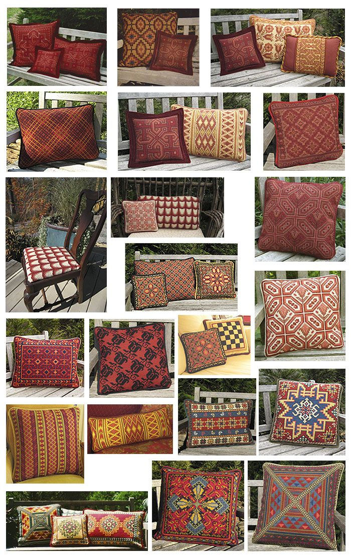 """A sampling of cross-point kits in Winter Reds from the cross-point blog """"Color Schemes"""""""