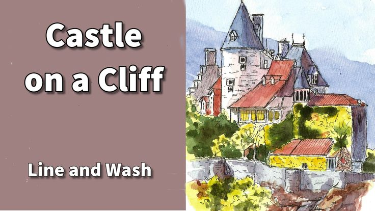 How to draw the castle in line and wash