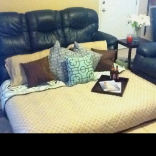"""Grown up living room """"fort"""" for girls movie night"""