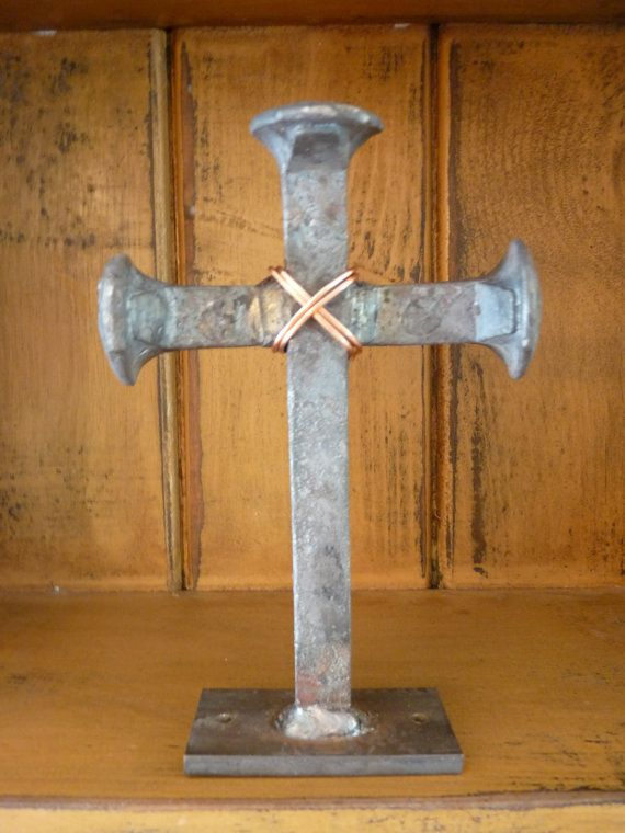 Railroad spike cross by MtnForgeCreations on Etsy, $25.00