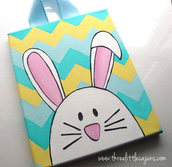 Easter Bunny/chevron canvas art by ThreeLittleCajuns on Etsy, $25.00