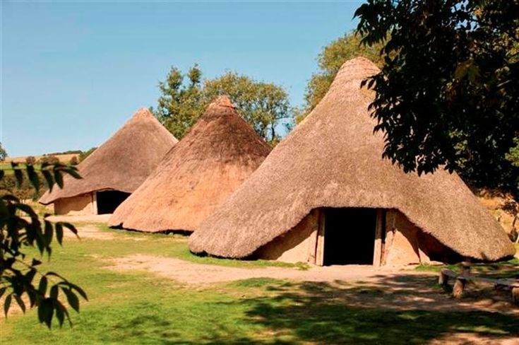 Roundhouses at Castell Henllys Iron Age Fort. Pembrokeshire Coast National Park, Wales.