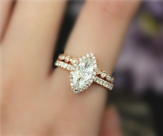 5.5x11mm Forever Classic Marquise Cut Moissanite Engagement Ring Set