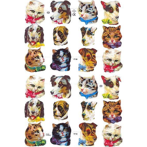 England Paper Scraps Victorian Cat And Dog by 32NorthSupplies