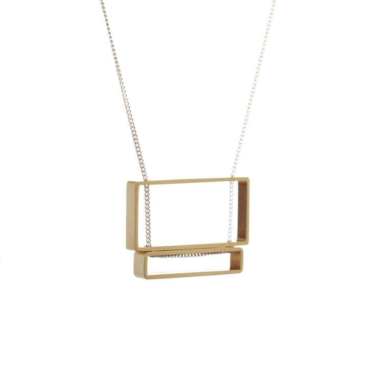 Double Rectangle Stack Necklace