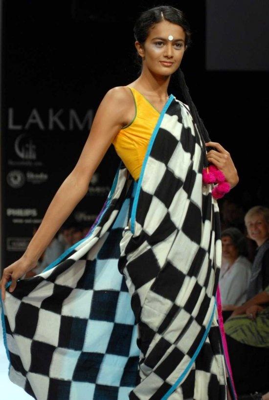 Masaba Gupta > Bright colours, big polkas, big checks, Masaba makes sarees fun and playful.