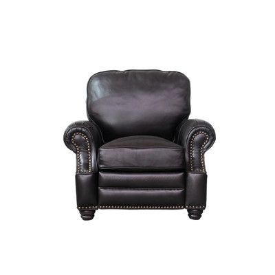 Barcalounger Longhorn Leather Recliner Upholstery: Dark Brown