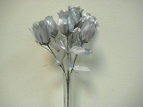 19 best annes images on pinterest black roses rose buds and silk 3 bushes silver rose buds artificial silk flowers 13 bou http mightylinksfo