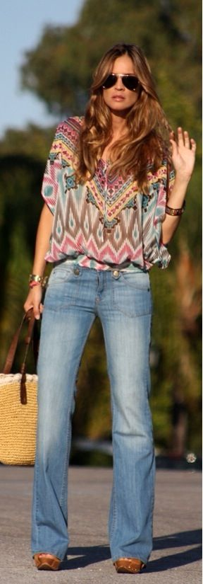 Denim on Boho Chicbohemian boho style hippy hippie chic bohème vibe gypsy fashion indie folk look outfit